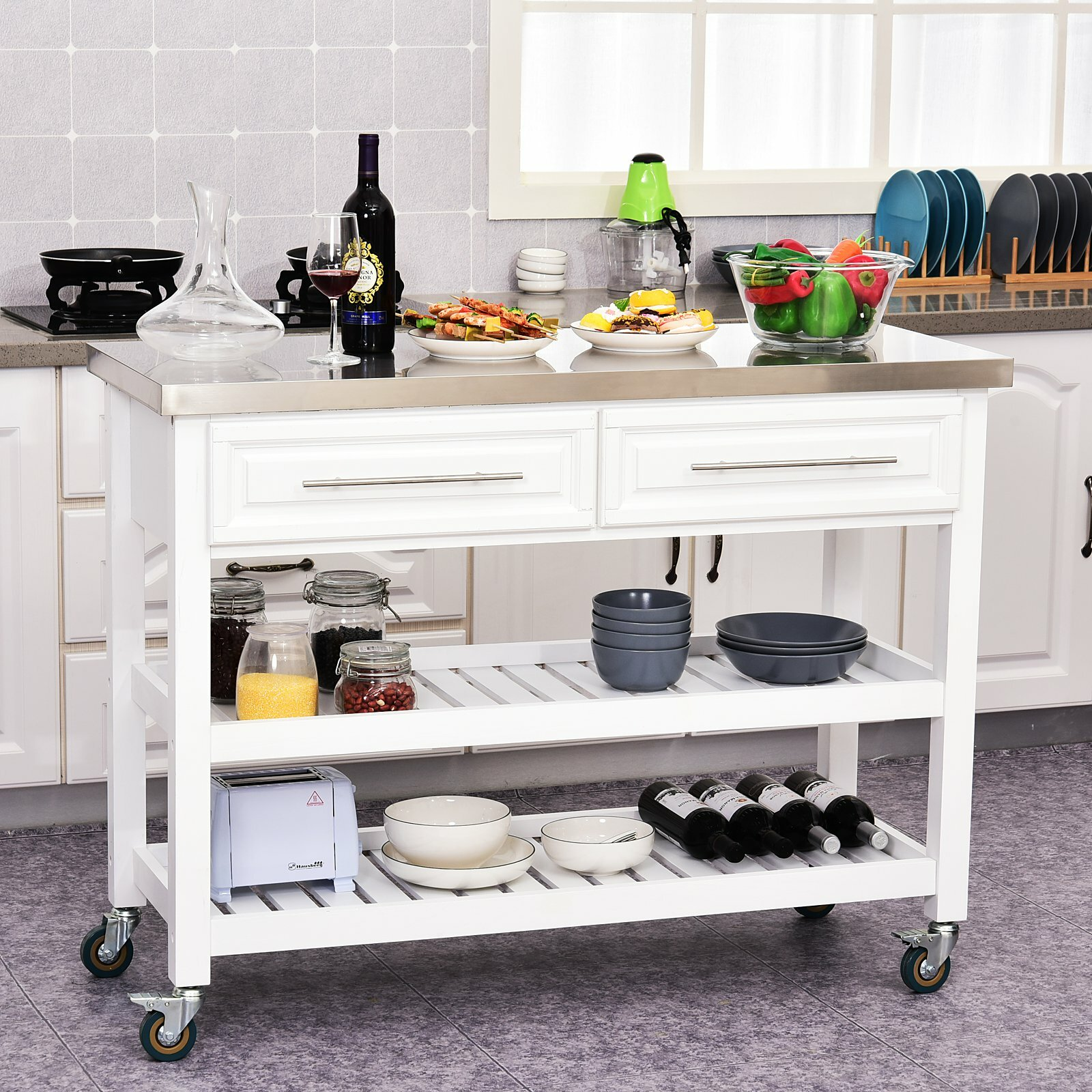 Rosecliff Heights Kourtney 47 25 Kitchen Island With Stainless Steel Top Reviews Wayfair