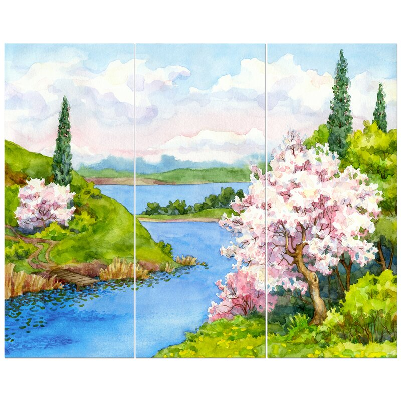 East Urban Home Flowering Trees In Winding River Oil Painting Print Multi Piece Image On Wrapped Canvas Wayfair