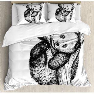 East Urban Home Animal Cute Little Panda Bear on Tree Branch Fury Tropical Jungle Zoo Sketchy Print Duvet Set