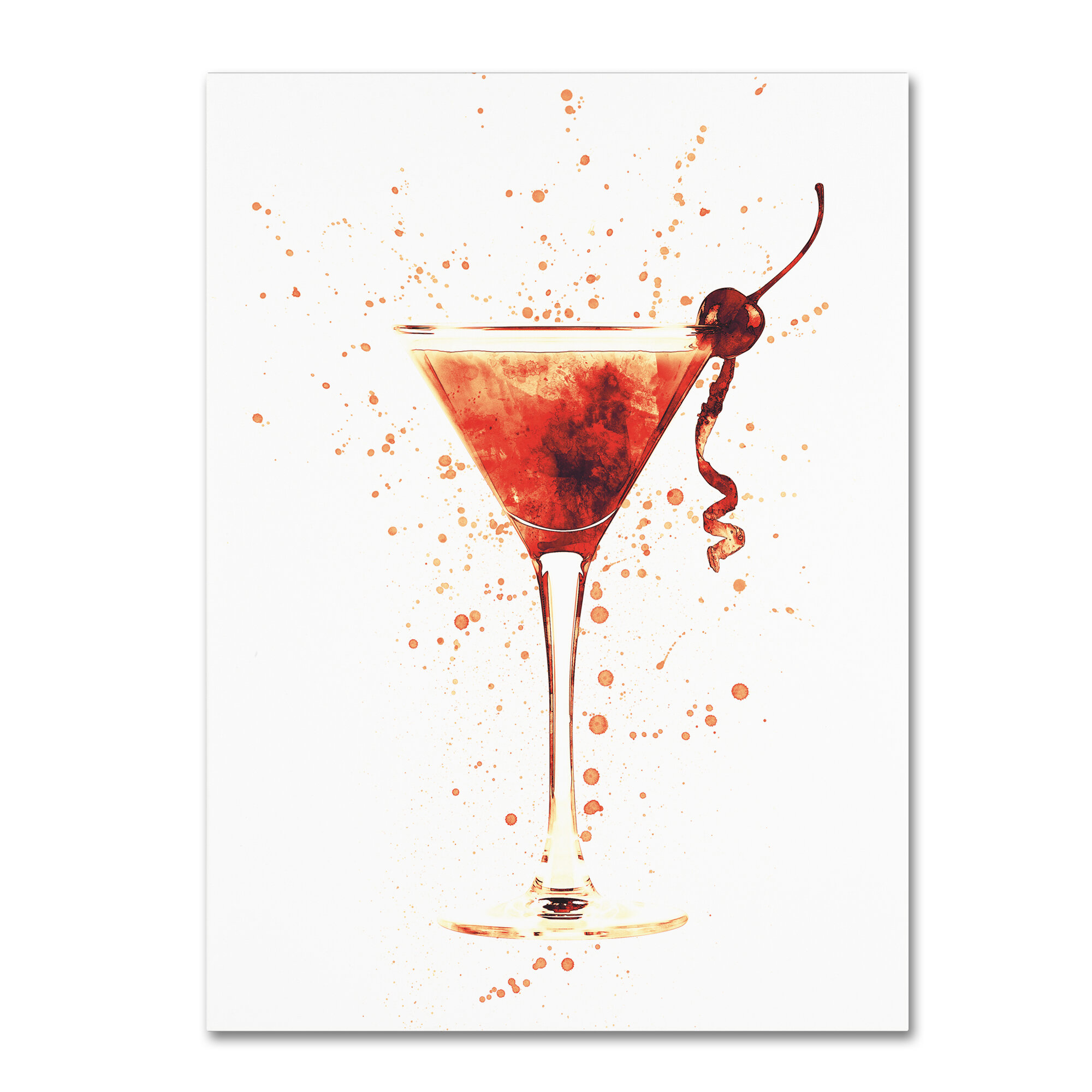 Wrought Studio Cocktail Drinks Glass Watercolor Xii Graphic Art Print On Wrapped Canvas Wayfair