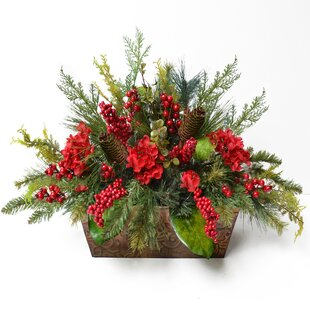 Large flower arrangements youll love wayfair pine and berry christmas floral arrangement mightylinksfo