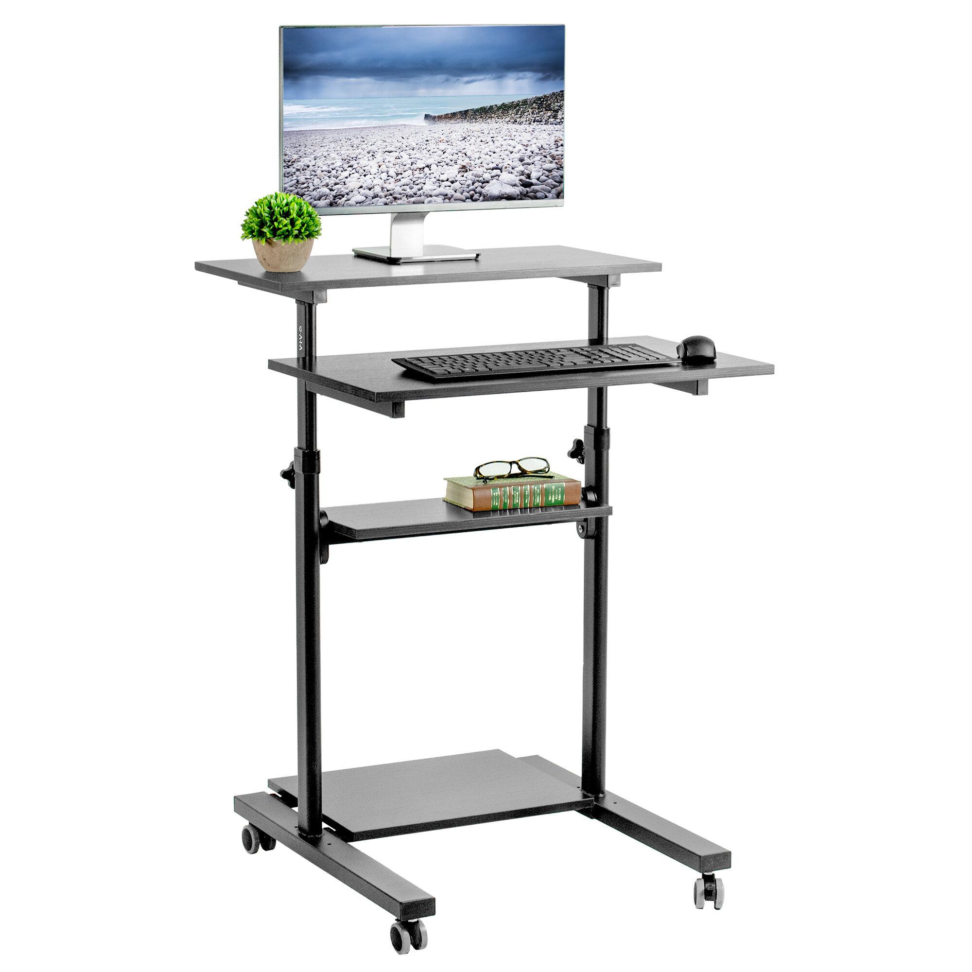 Vivo Mobile Stand Up Workstation Presentation Adjustable Laptop Cart Reviews Wayfair