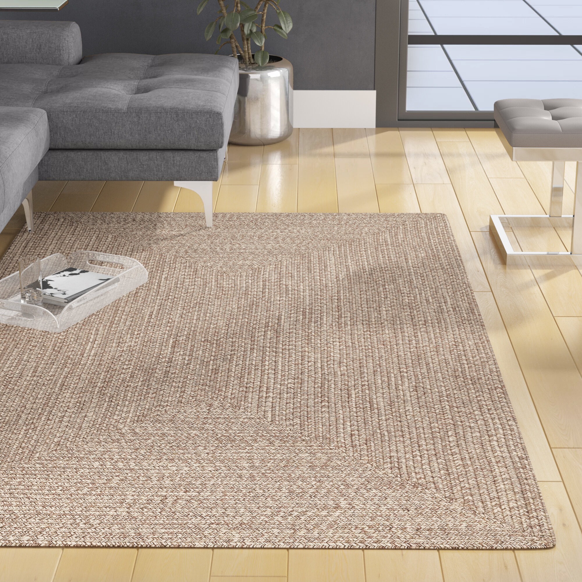 Wade Logan® Bromsgrove Handmade Braided Tan Indoor / Outdoor Rug