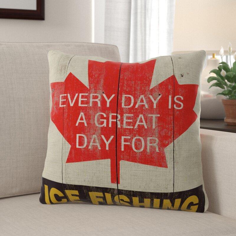 Millwood Pines Darren Great Day Ice Fishing Indoor Outdoor Linen Throw Pillow Wayfair