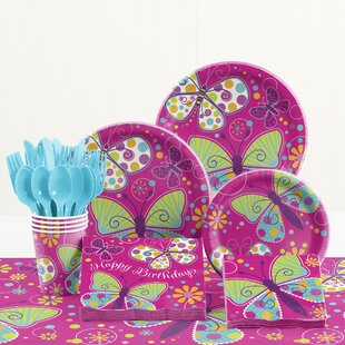 81 Piece Butterfly Sparkle Birthday Paper/Plastic Tableware Set