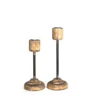 Wood and Metal Candlestick Set (Set of 2)