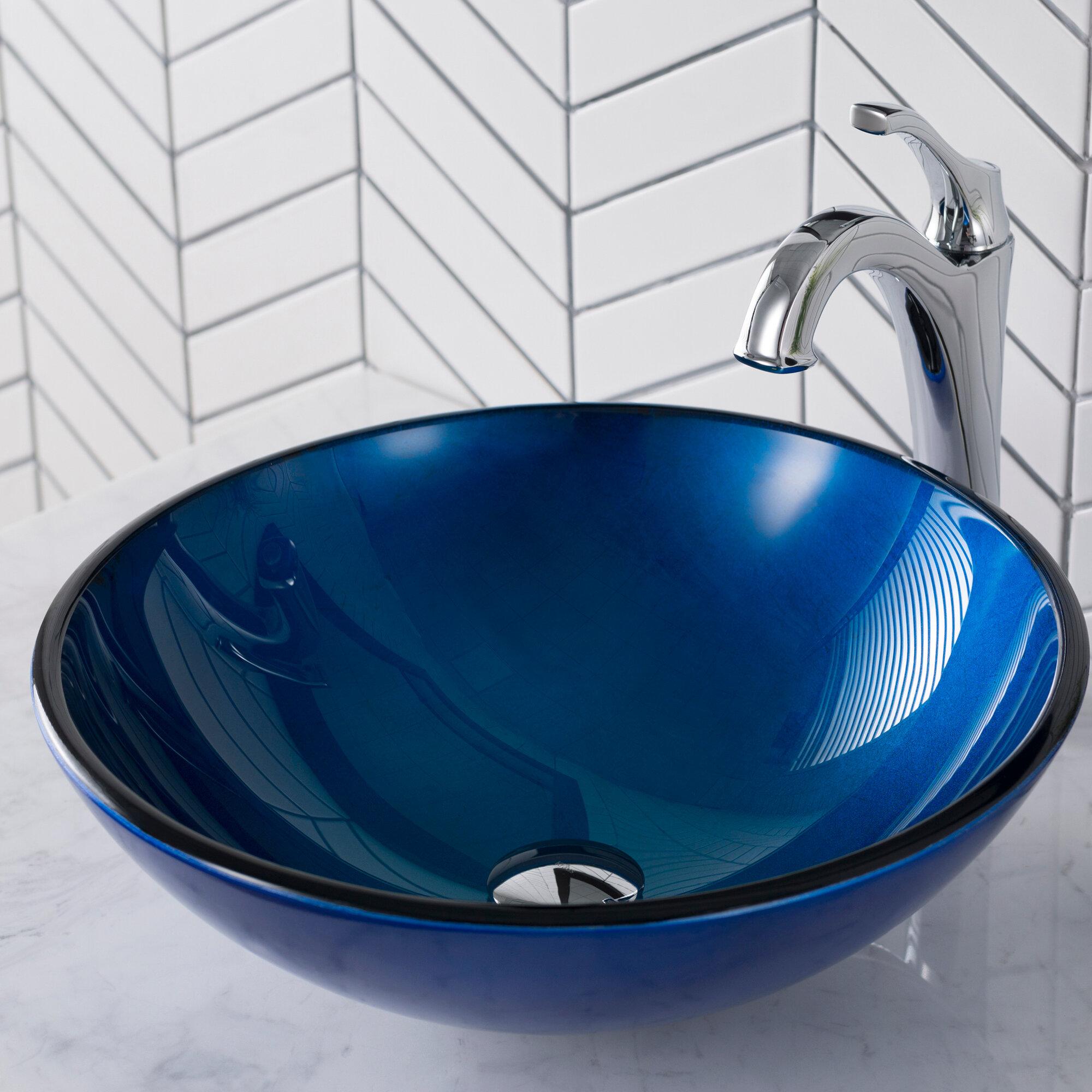 Gv 200 Ch Kraus Galaxy Glass Circular Vessel Bathroom Sink Reviews Wayfair