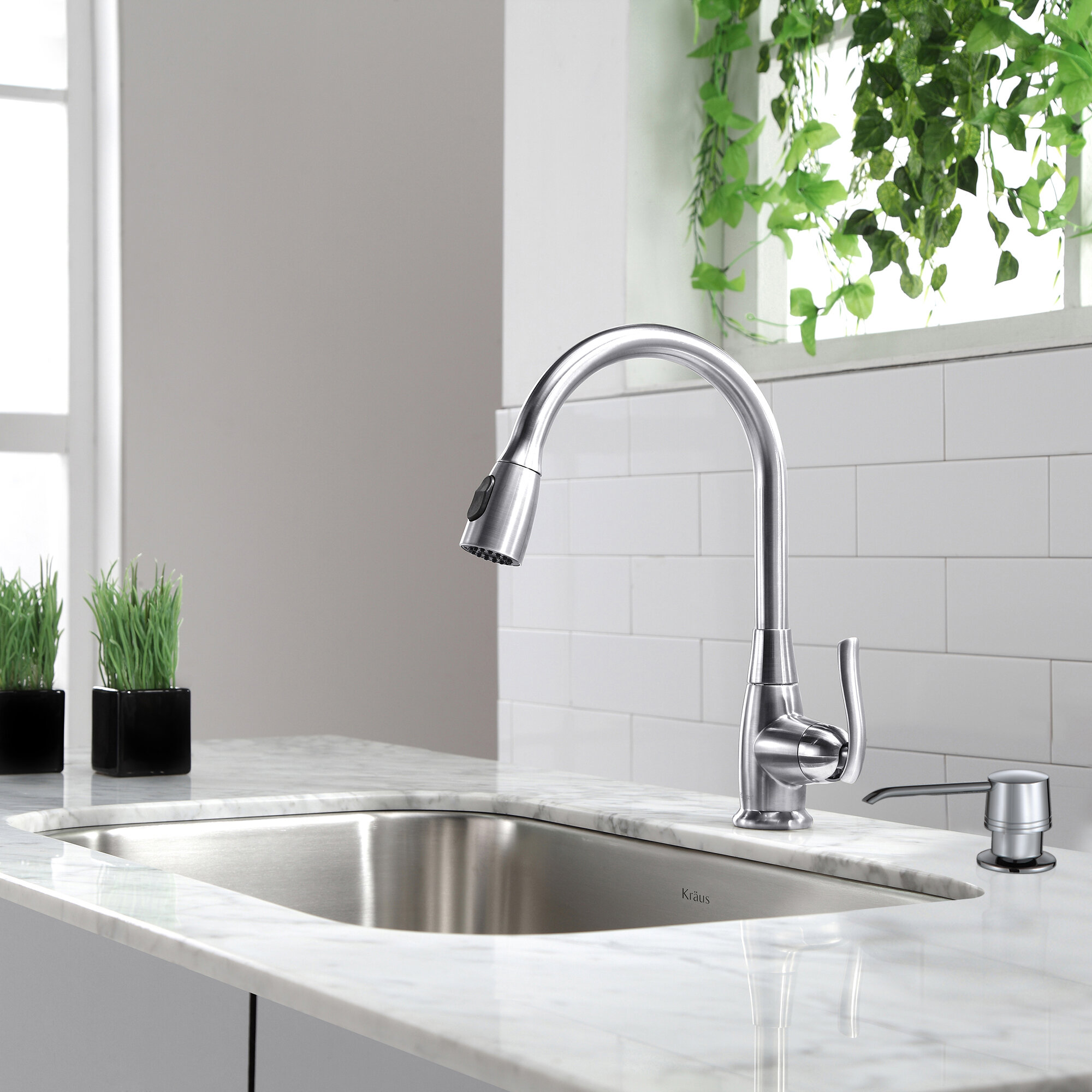 Image of: Kpf 2230ch Sn Orb Kraus Premium Pull Down Single Handle Kitchen Faucet With Optional Soap Dispenser Reviews Wayfair