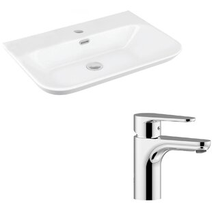 Comparison Edge Ceramic Ceramic U-Shaped Vessel Bathroom Sink with Faucet and Overflow By WS Bath Collections