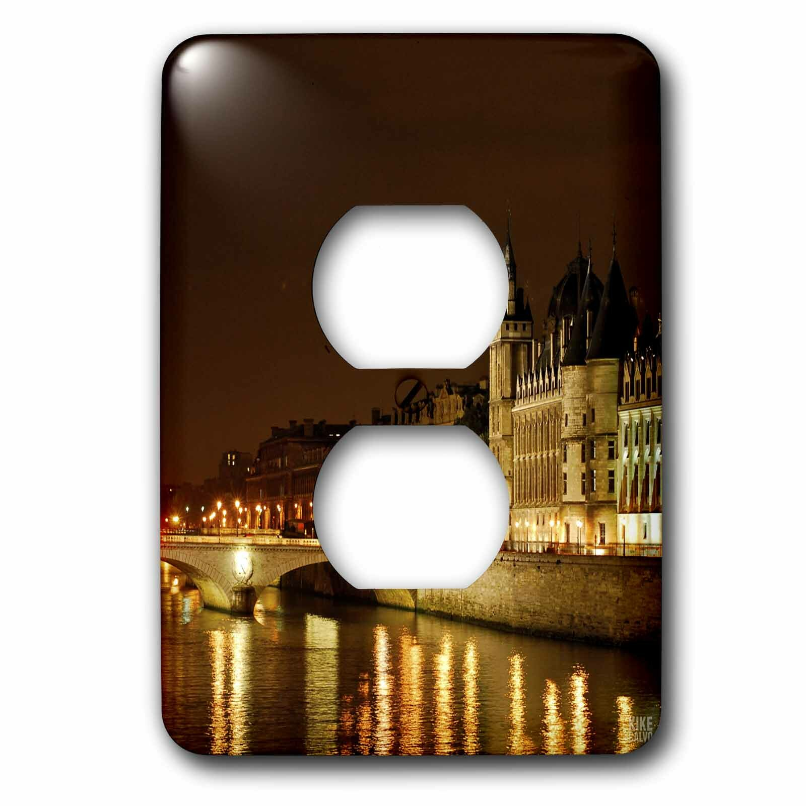 3drose Paris France Paris And The Seine River At Night 1 Gang Duplex Outlet Wall Plate