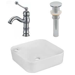 Bargain Ceramic Square Vessel Bathroom Sink with Faucet By American Imaginations