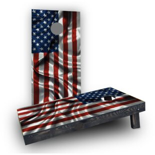 Custom Cornhole Boards Waving American Flag Cornhole (Set of 2)