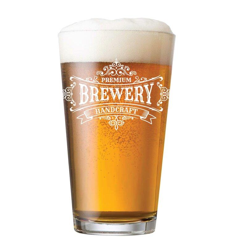 Winston Porter Grenadines Arc Premium Handcraft Brewery Logo 16 Oz Pint Glass Wayfair