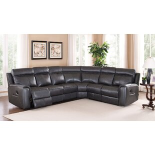 Red Barrel Studio Vernetta Leather Reclining Sectional