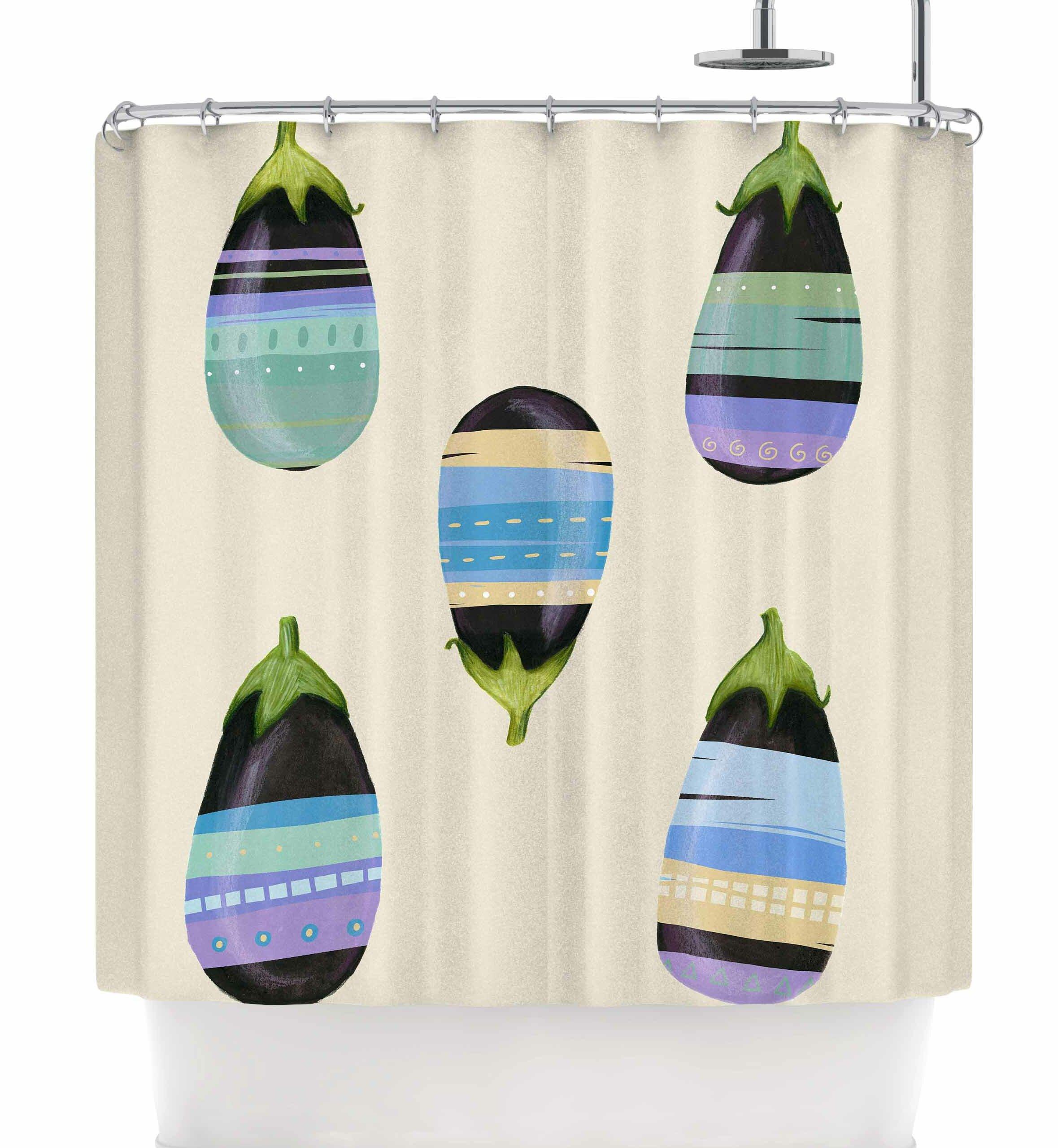 East Urban Home Judith Loske Happy Aubergines Shower Curtain   Wayfair