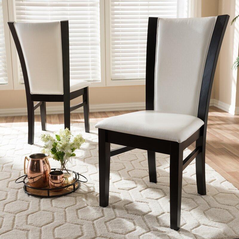 Red Barrel Studio Kaneohe Upholstered Side Chair in White/Dark Brown (Set of 2)