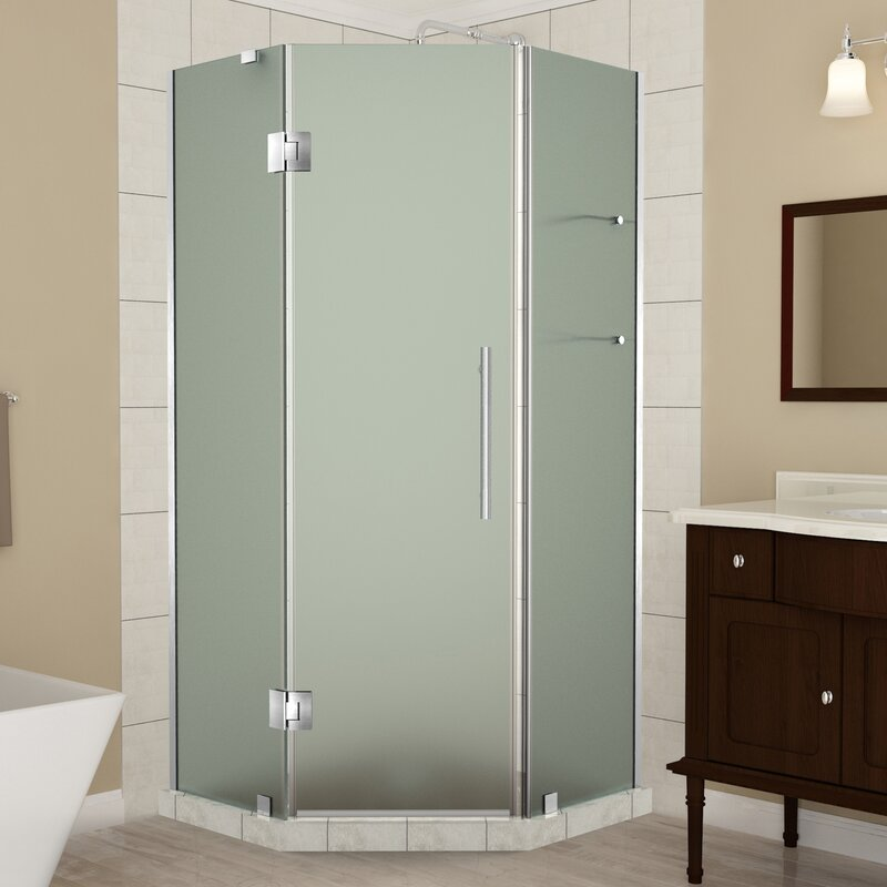 frosted glass shower enclosure. Merrick GS Frameless Corner Neo-Angle Hinged Frosted Glass Shower Enclosure