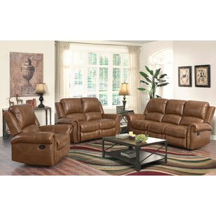 Bitter Root Reclining 3 Piece Leather Living Room by DarHome Co