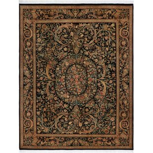 Best Reviews One-of-a-Kind Aaru Hand-Knotted Wool Black/Rose Area Rug By Isabelline