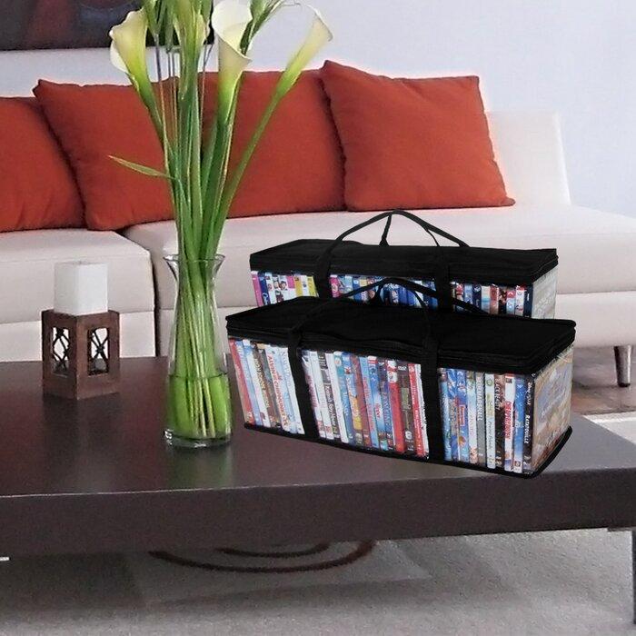 Evelots Portable Dvd Blu Ray Video Storage Bags See Thru Black Top Set 2