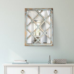 Compare prices Armina Rustic Wood Window Pane Vanity Wall Mirror By Highland Dunes