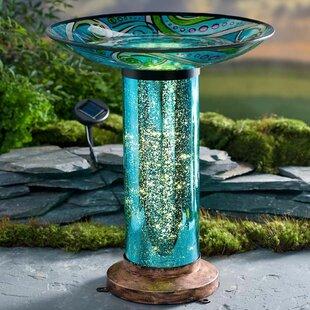 Wind & Weather Fish-Motif Solar and Lighted Birdbath