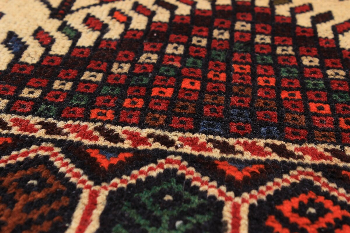 One Of A Kind Finest Baluch Wool Hand Knotted Cream/Dark Great Pictures