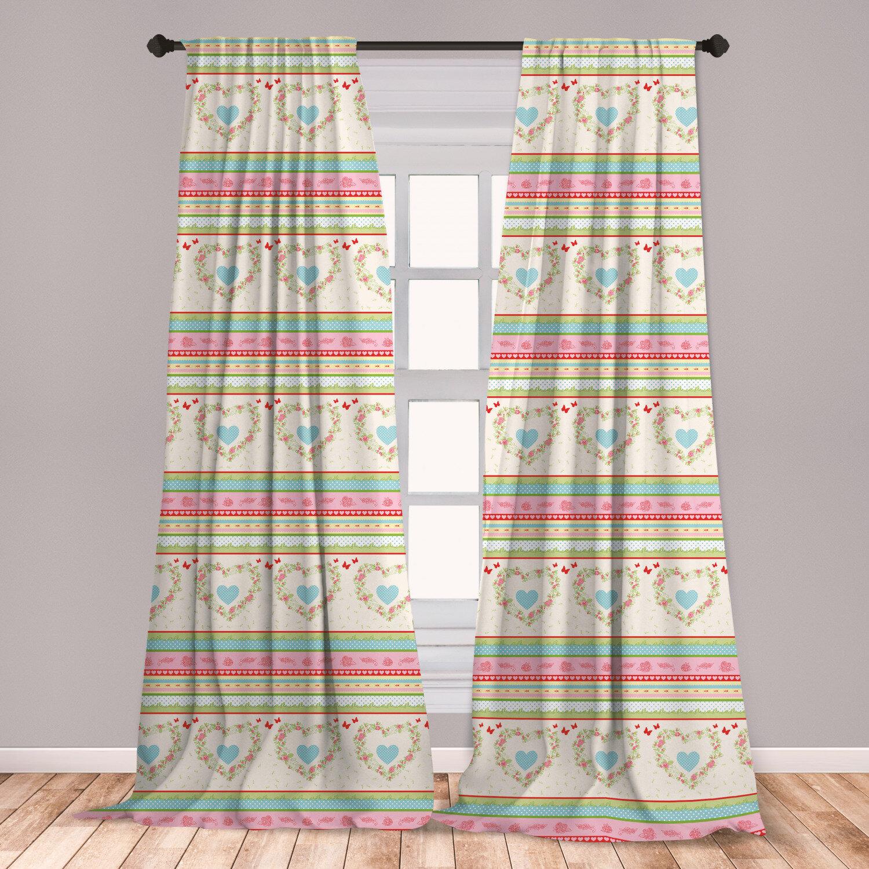 East Urban Home Shabby Flora Polka Dot Room Darkening Rod Pocket Curtain Panels Wayfair