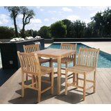 Meranda 5 Piece Teak Bar Height Dining Set