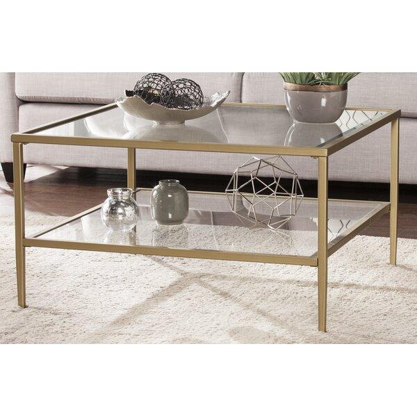 red barrel studio myron square metal glass open shelf coffee table reviews wayfair. Black Bedroom Furniture Sets. Home Design Ideas