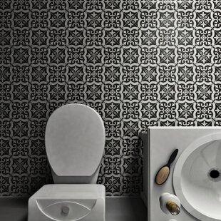 Lima 7.75 inch  x 7.75 inch  Ceramic Field Tile in Black/Gray
