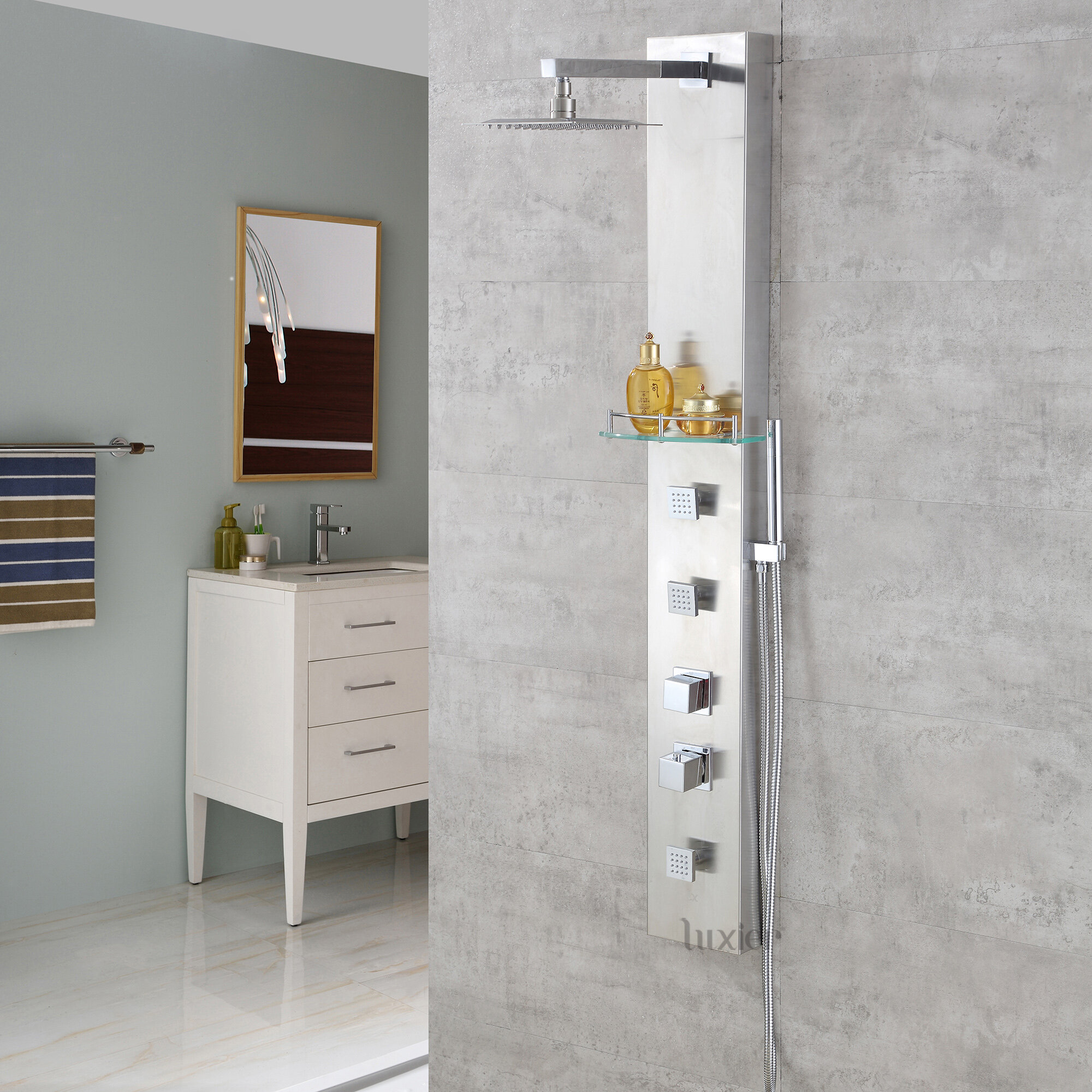 Multi Function Thermostatic Adjule Shower Head Panel With Rainfall Tower Mage Jets System And Handheld