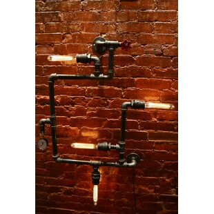 Check Prices Steampunk 4-Light Industrial Pipe Wall Light By West Ninth Vintage