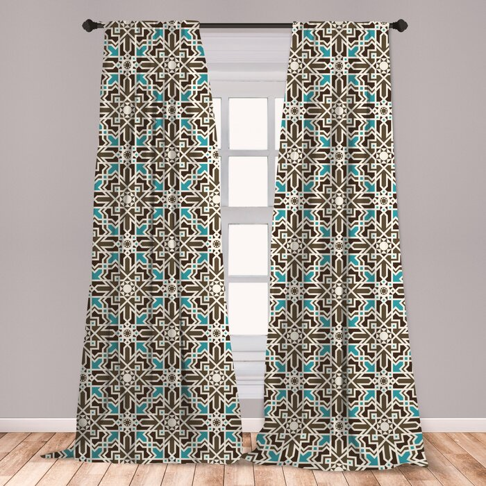 Ambesonne Brown And Blue Curtains, Middle Eastern Inspired Moroccan Star  Pattern Ornament, Window Treatments 2 Panel Set For Living Room Bedroom ...