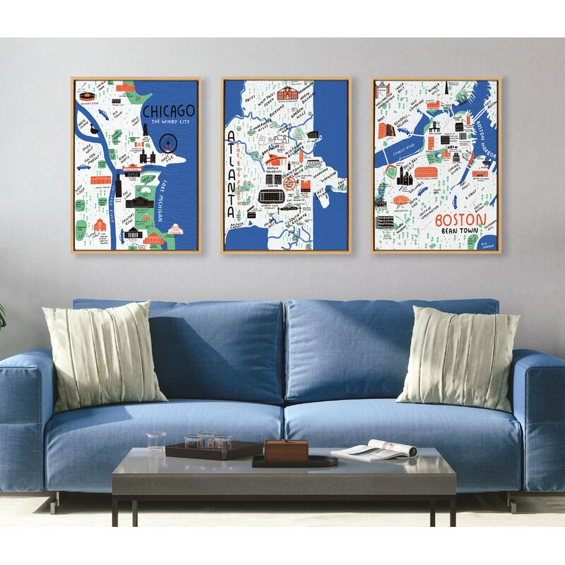 'Boston Illustration' by Stacie Bloomfield - Floater Frame Painting Print on Canvas