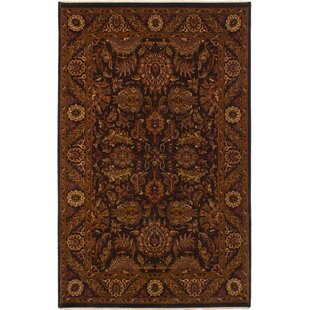 Best Reviews One-of-a-Kind Donley Hand-Knotted Wool Black Area Rug By Isabelline