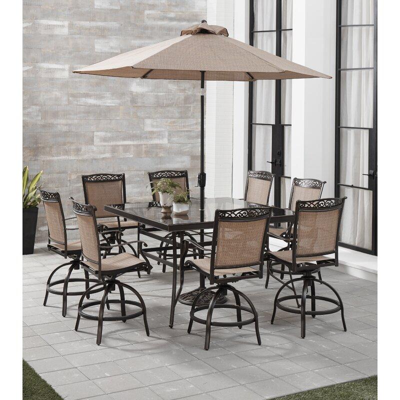 Fleur De Lis Living Bucher 9 Piece Counter Height Outdoor Dining Set With Umbrella Wayfair