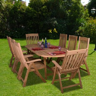 Beachcrest Home Elsmere 9 Piece Teak Dining Set