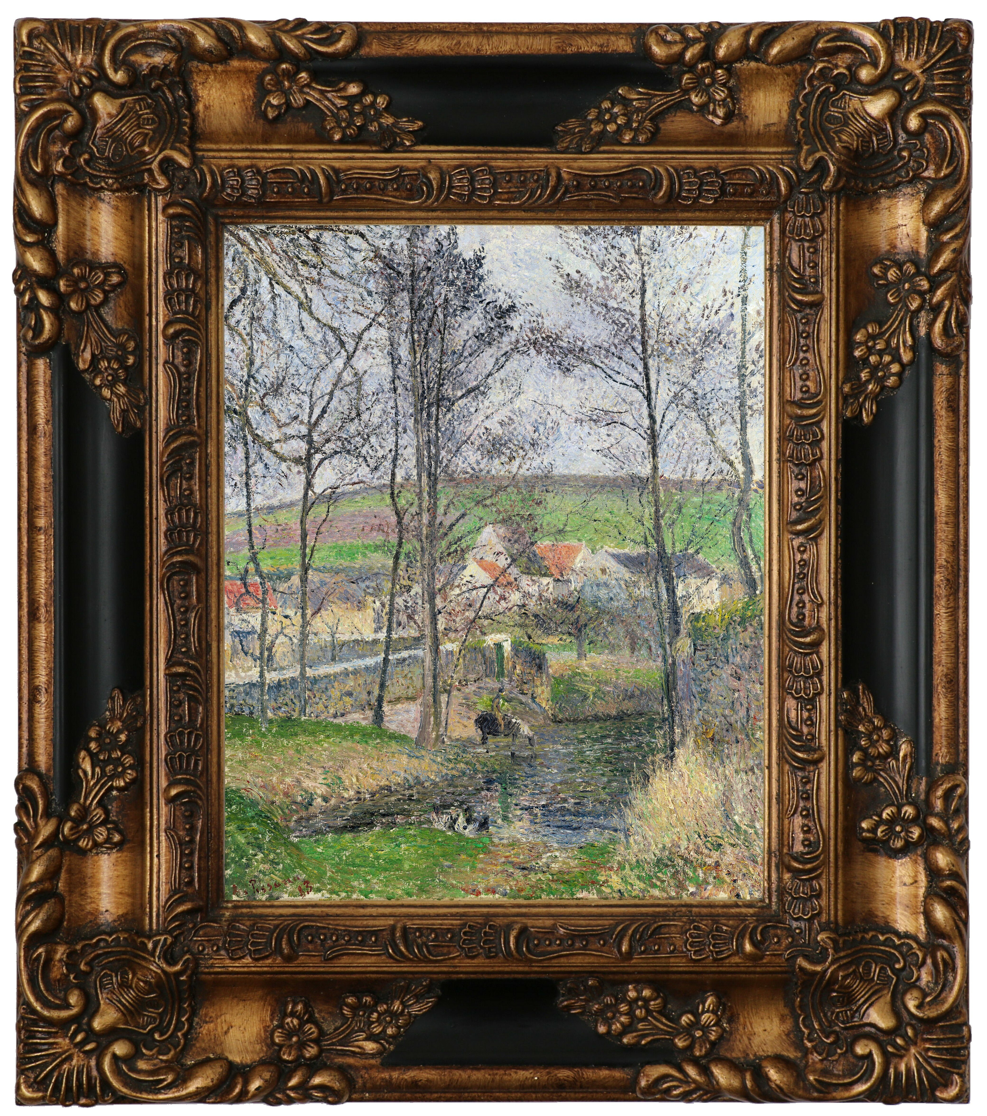 Vault W Artwork The Banks Of The Viosne At Osny In Gray Weather Winter 1883 By Camille Pissarro Framed Graphic Art Print On Canvas Wayfair
