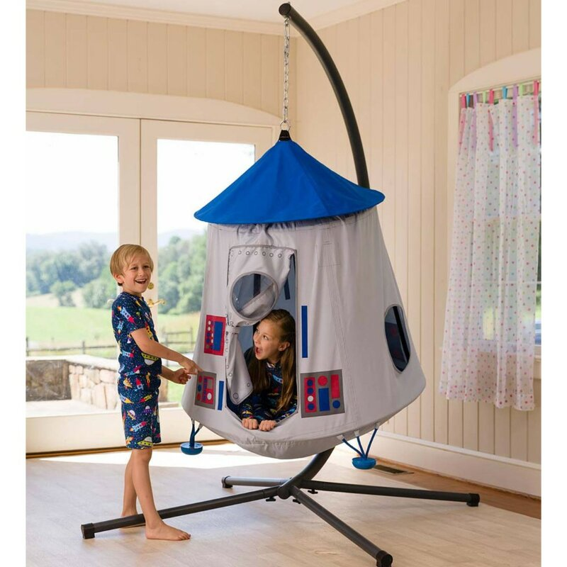 hanginh-tent-pod-wwing-blue-with-stand-for-kids