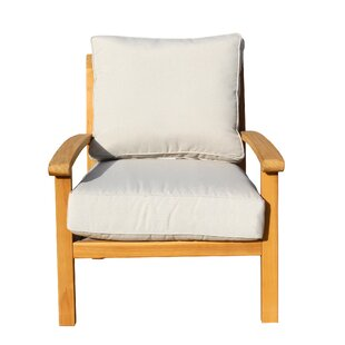 Chancy Courtyard Teak Patio Chair with Cushions