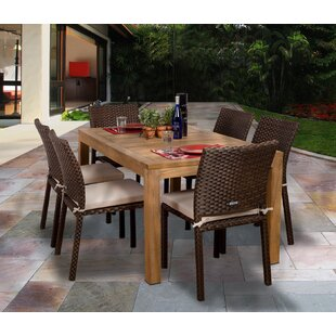 Beachcrest Home Arango 7 Piece Dining Set with Cushions