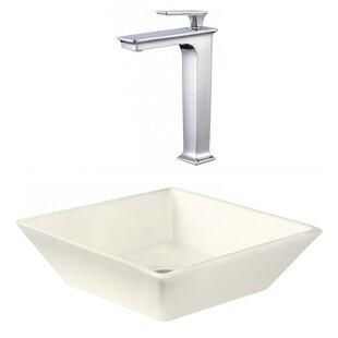 Bargain Ceramic Square Vessel Bathroom Sink with Faucet ByAmerican Imaginations