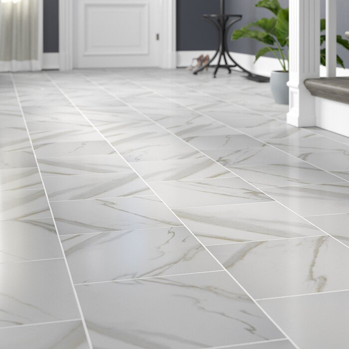 Pietra Calacatta 12 X Porcelain Field Tile In White