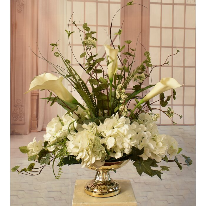 Calla Lily Silk Hydrangea And Orchid Centerpiece In Decorative Vase