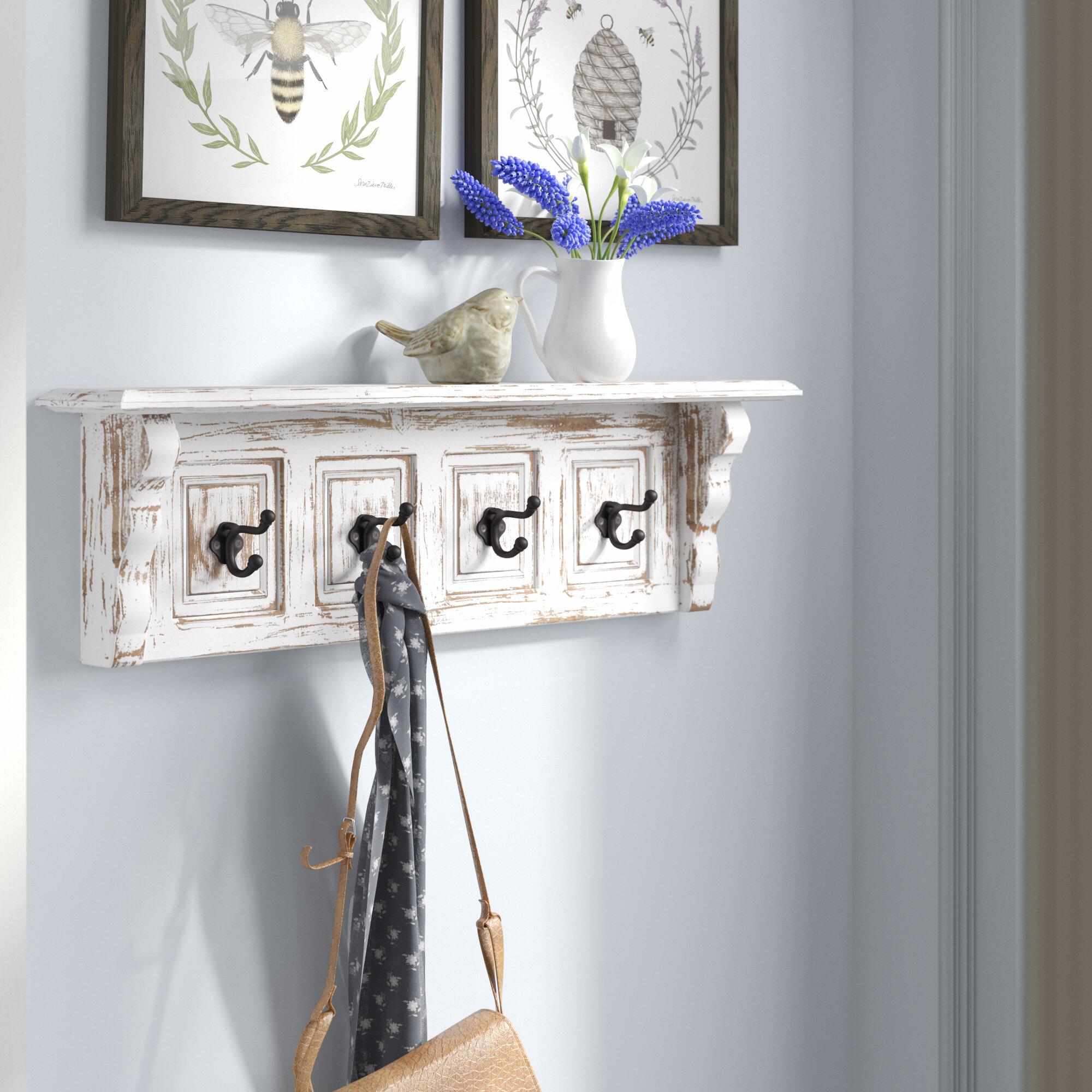 White Wood Wall Hooks Coat Racks You Ll Love In 2021 Wayfair
