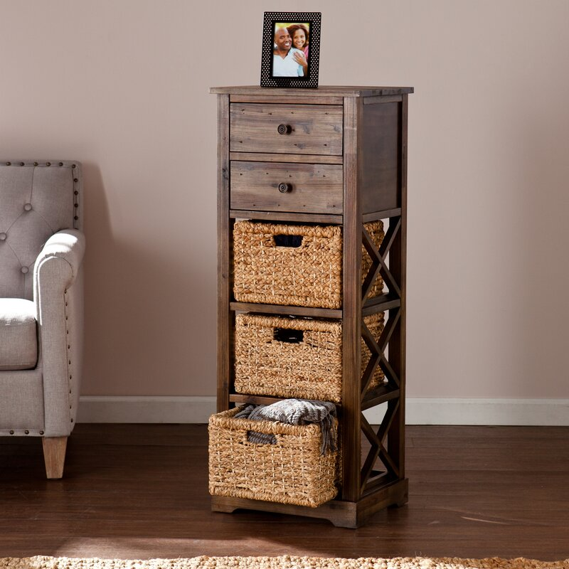 Stimson 2 Drawer Storage Chest 3 Basket Tower