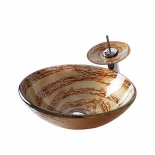 Glass Circular Vessel Bathroom Sink with Faucet Arsumo