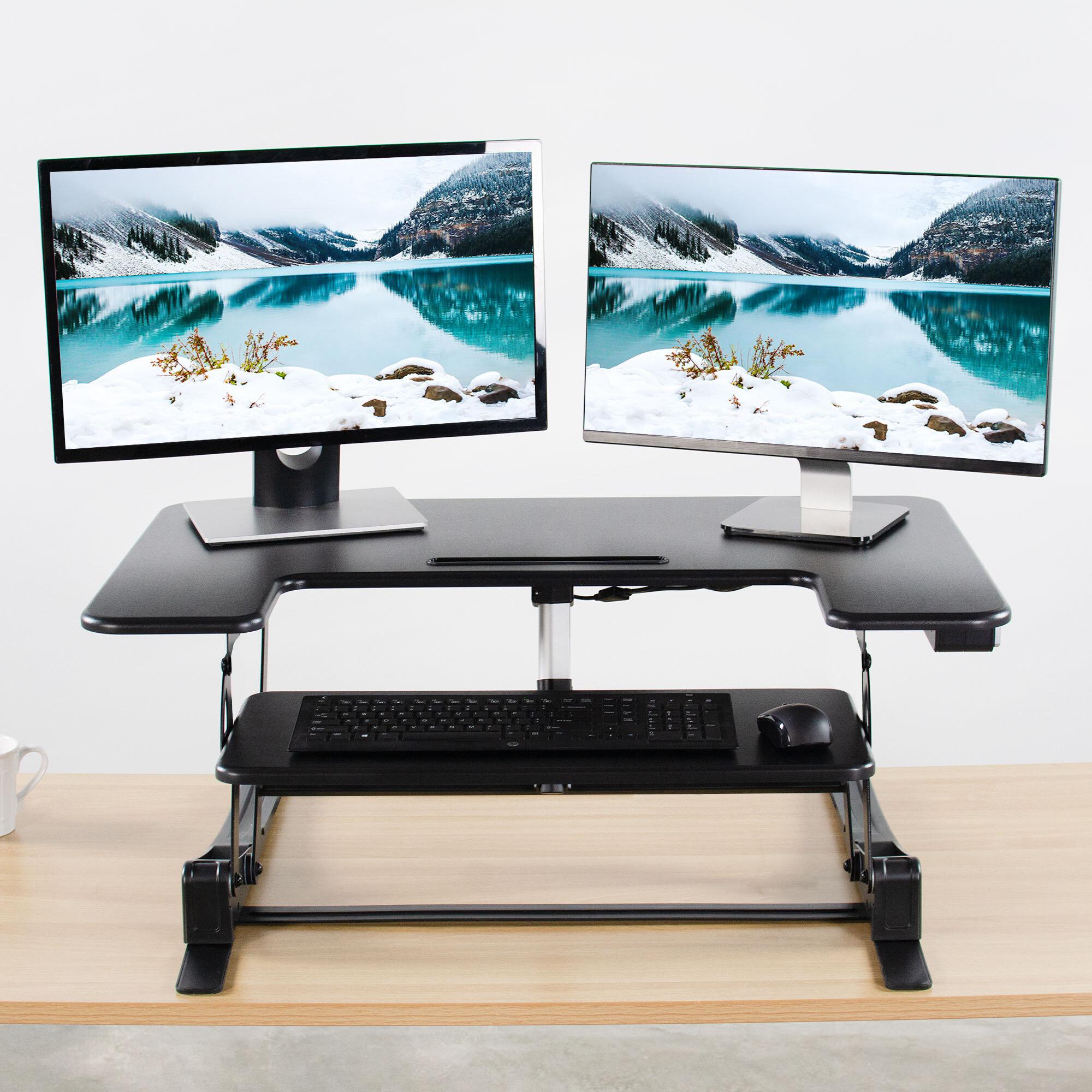 Vivo Height Adjustable Standing Desk Converter Wayfair Ca
