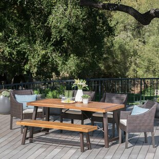 Dunton Outdoor 6 Piece Dining Set with Cushions